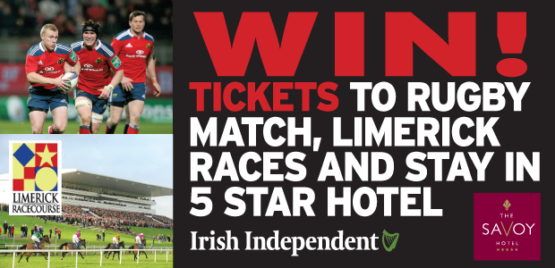 Win, a 5 Star hotel stay, lunch, Tickets to Munster V Connacht and Limerick Races