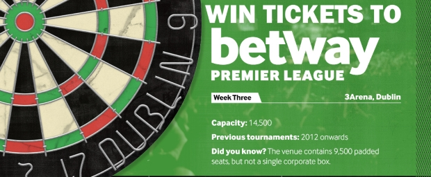 WIN tickets to Betway Premier League Darts on Thurs in Dublin